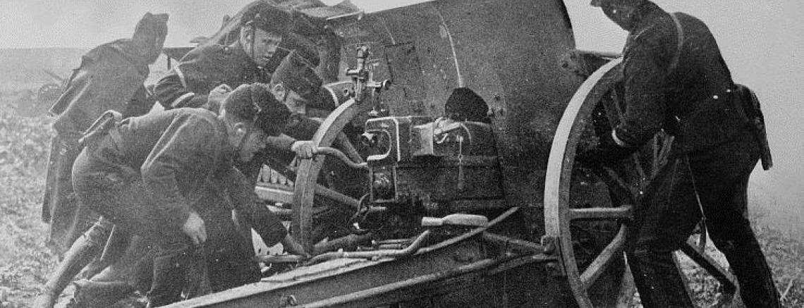 Belgische artillerie voor Antwerpen